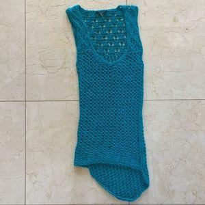 Tart NWOT Teal Crochet Knit Dress Coverup Sz Small